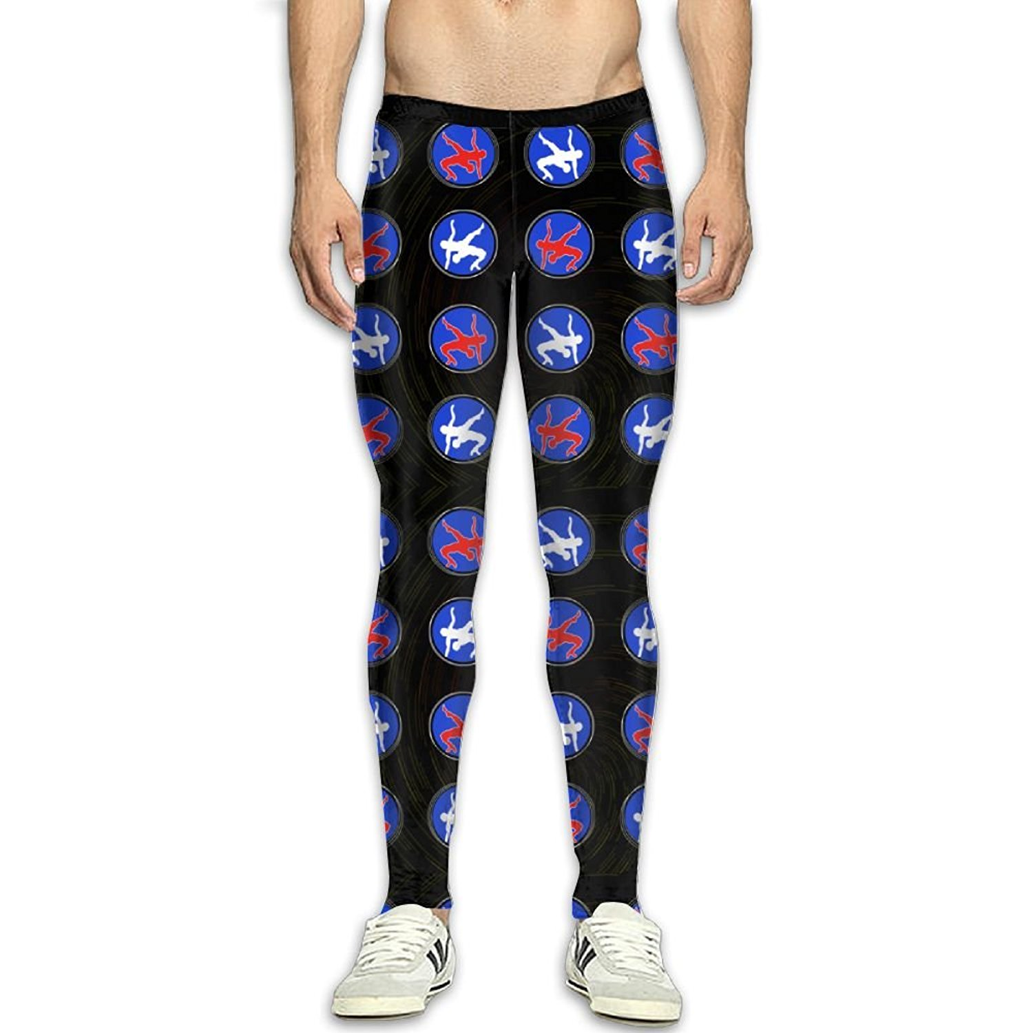 05f947cb18779 Get Quotations · Fri USA Wrestling Logo Compression Pants Running Tights  Gym Tights for Men High Waist