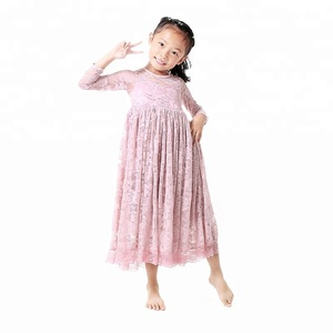 2017 wholesale cheap elegant cute kids maxi dress red lace dress baby girls birthday prom party lace dress