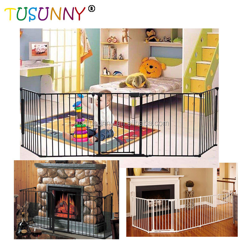 Baby Door 5 Panels Adjustable Indoor Patio Stairs Pet Dog Baby Safety Gate