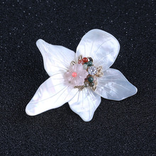 Shell Flower Shaped Necklace Pendant Beaded Brooches