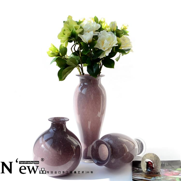 The export of European glass vase is purple flower rich modern minimalist soft decoration decoration Home Furnishing