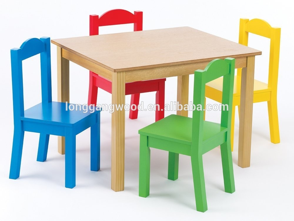 Kindergarten Solid Wood Kids Study Playing Table Chair Childrens Wooden And Chairs Set