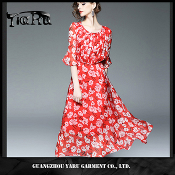 Fashion Ladies Long flared skirt women red chiffon dress flower design