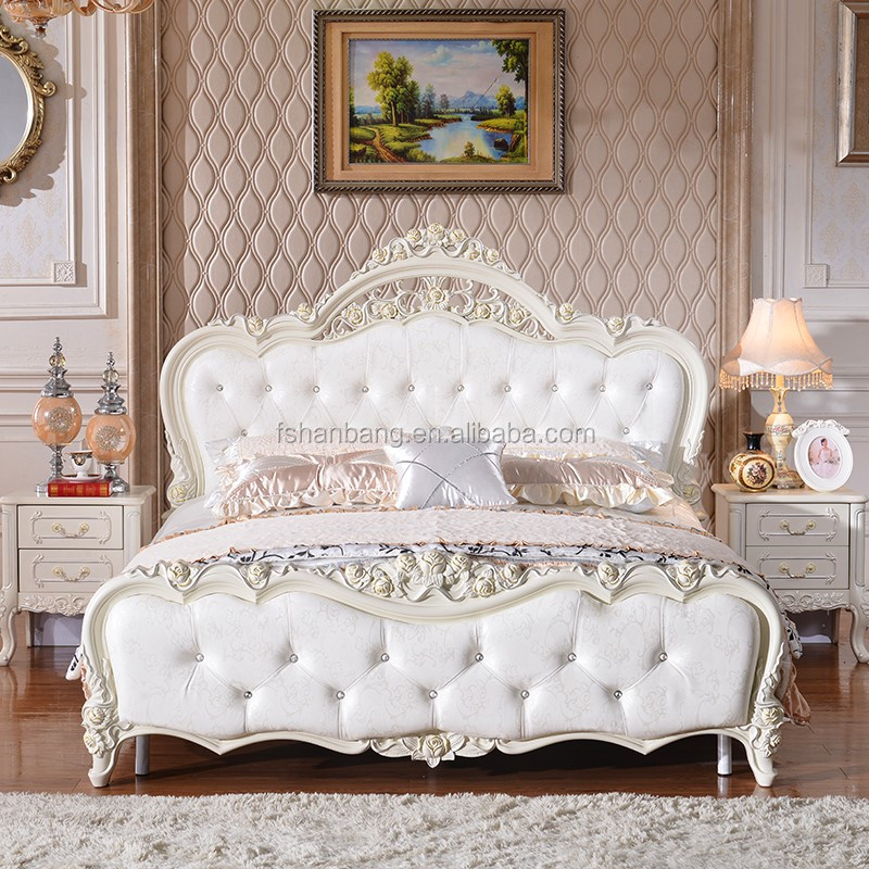 Latest Double Bed Design Furniture Royal Luxury White Bedroom Furniture