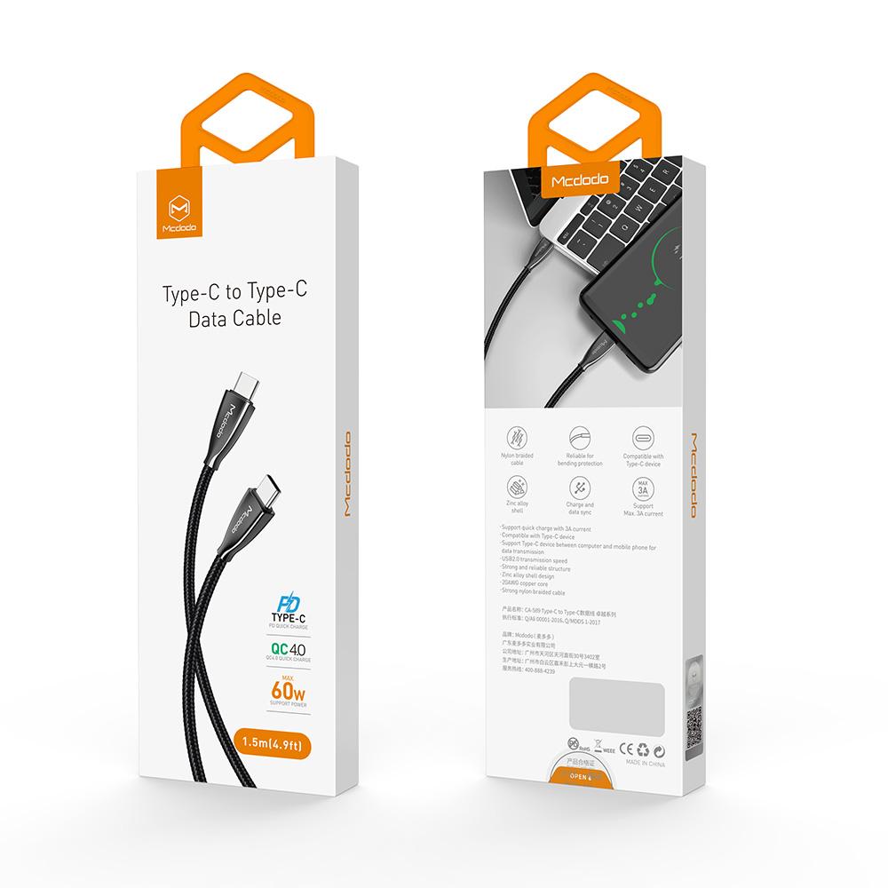 Mcdodo 3A 60 Вт USB C к USB C нейлоновый Плетеный зарядный кабель для Macbook