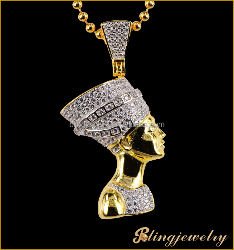 New design customd CZ Egyptian Pharaoh pendant high quality plated gold pendant