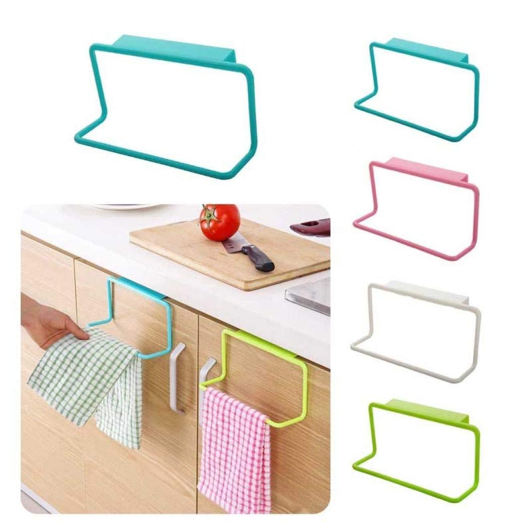LtrottedJ Towel Rack Hanging Holder, Organizer Bathroom Kitchen Cabinet Cupboard Hanger (Pink)