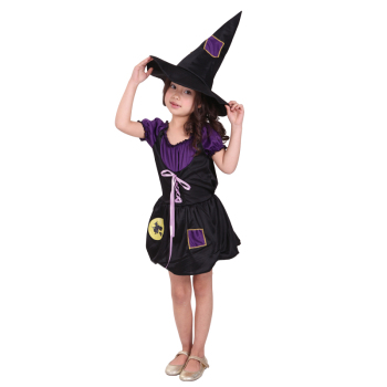 2019 New Arrival Hollywood Cosplay Girl Witches Fancy Dress Costume Magic Purple Witch Cosplay Costume With Hat