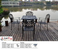 Black outdoor furniture cast aluminum conversation seating set.