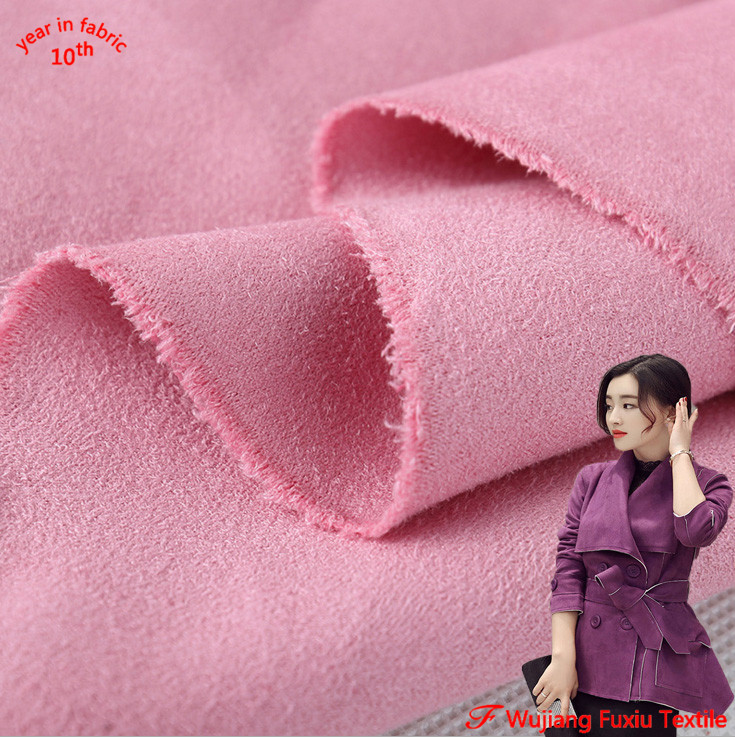 hot sale thick brushed double sided stretch suede fabric for clothing shoes