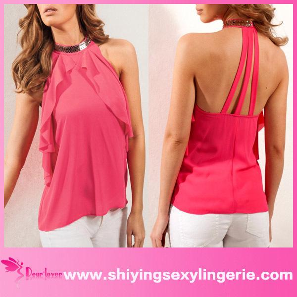 ba85808143a venta al por mayor de lujo cuello drapeado cami de color rosa collar con  detalle de