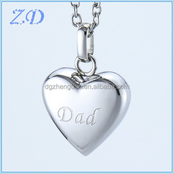 Stainless steel fashion heart shaped cremation ash urn memorial stainless steel fashion heart shaped cremation ash urn memorial pendant cremation jewelry for dads ashes mozeypictures Choice Image