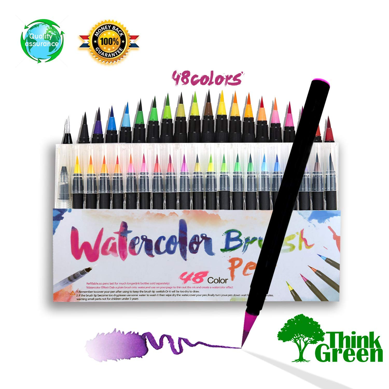 Watercolor pen 48 bright color pens, Watercolor pen ink is enough, Watercolor brush markers pen set tip tip is flexible, the color is very vivid, The Brush is very flexible, Tthe color