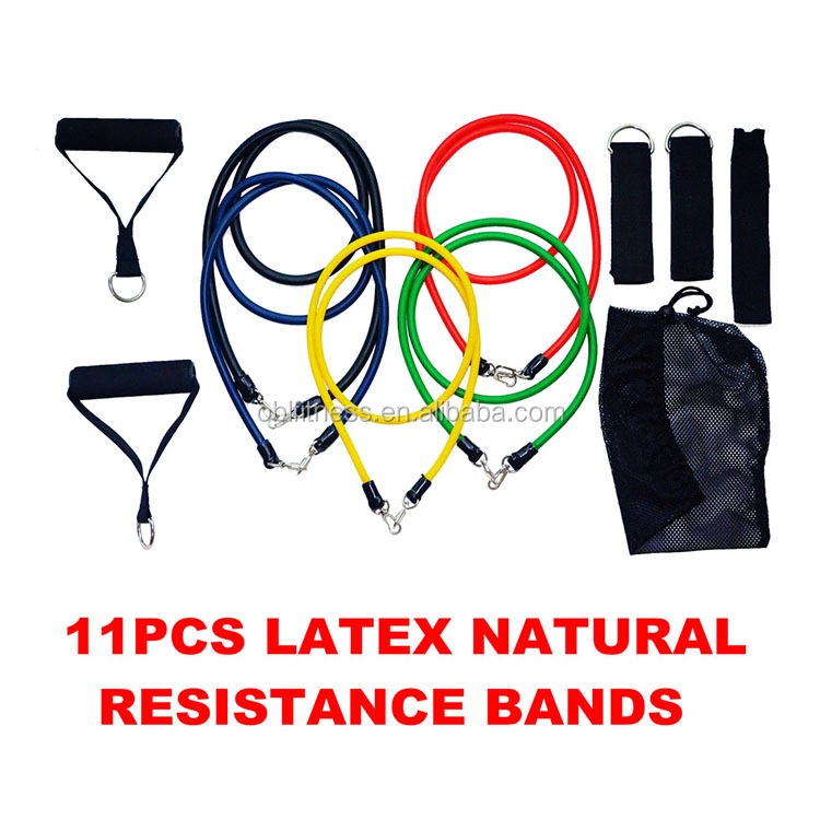 11 stks Fitness Latex Weerstand Band Oefening Set