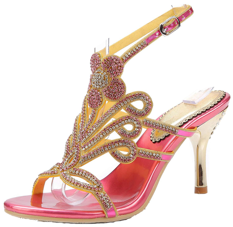 95217a9d28be Get Quotations · LizForm Women Studded Wedding Sandal Strappy Dress Sandal  Slingback Heels Flower High Heels