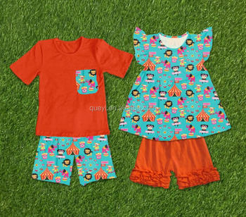 785a865b6639 Wholesale Children's Boutique Outfits brother sister clothing sets Animals Flutter  Sleeve Icing Shorts