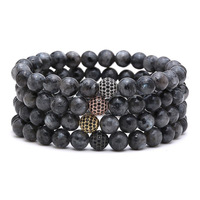 Zooying 8mm natural stone pave crystal Ball Charm Bracelet for Men Women Black Matte Onyx Stone Beads
