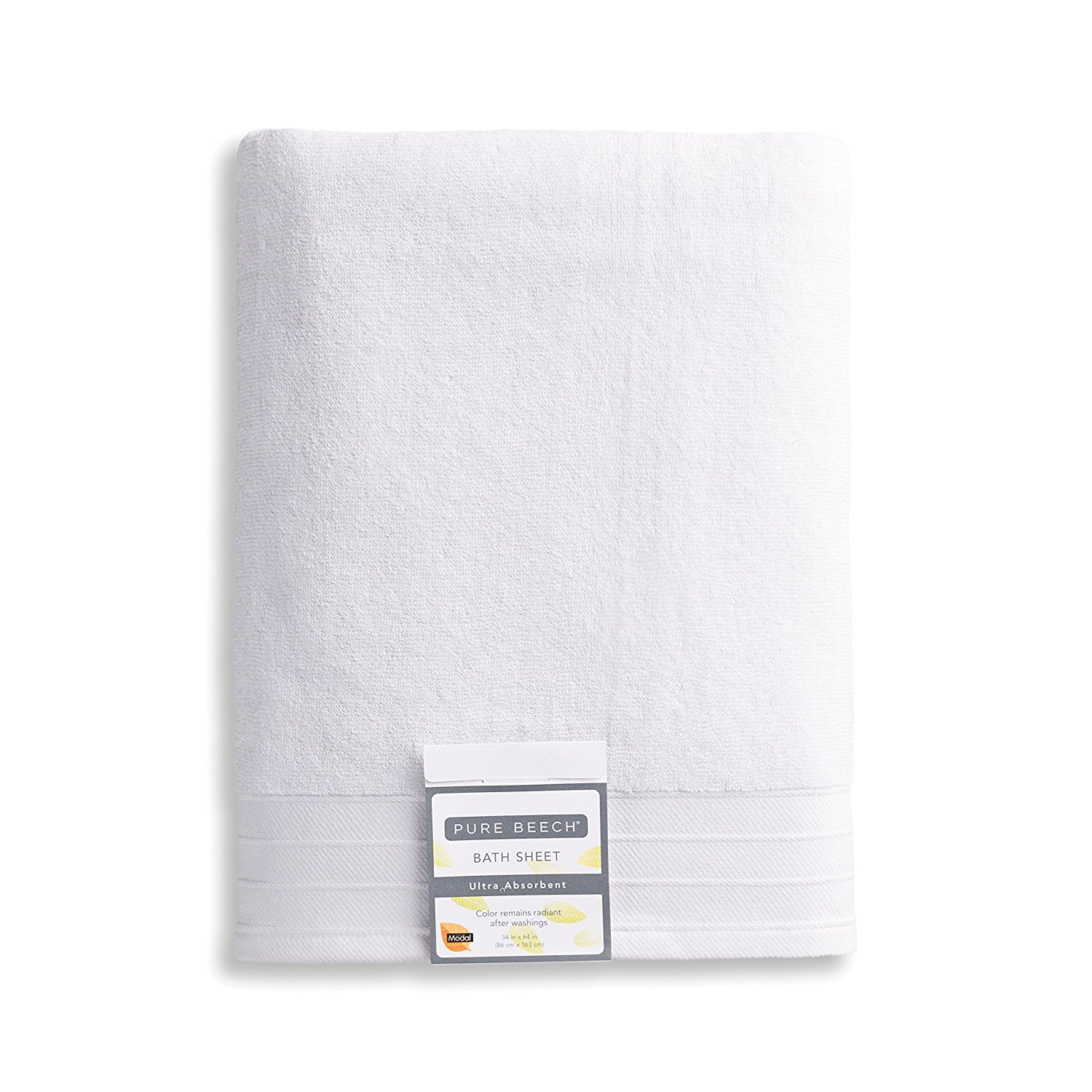 Pure Beech 2-Piece Bath Sheet Towel Set – Cotton Modal Blend - Hotel Quality, Bright, Super Soft and Highly Absorbent - White