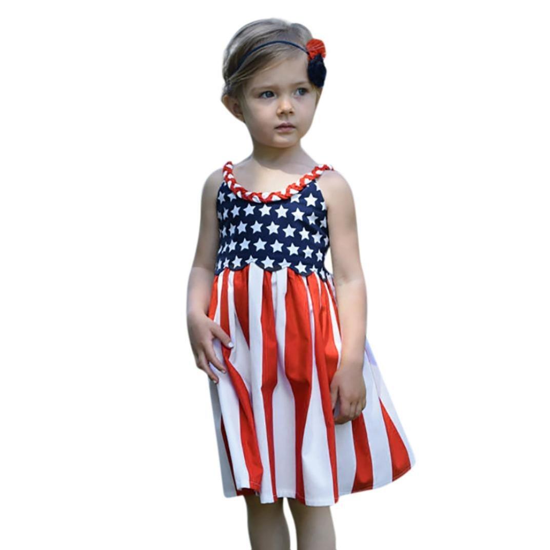 32c429e312c22 Get Quotations · Hemlock Dress Kids Girls Flag Dress,Hemlock Baby Girls  Sleeveless Sundress A-Line American