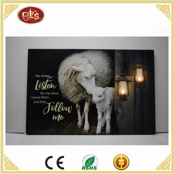 Sheep Wall Led Light Canvas Painting,Winter scenery Light Up Canvas