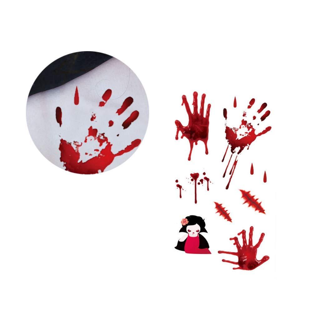 Halloween tattoos sticker,Hot Sale Waterproof Temporary Scar Terror Wound Blood Injury Tattoo Sticker (G)
