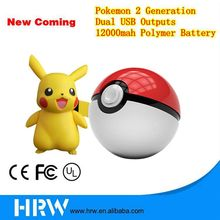 2016 New Best Prices Pokemon Go 2 Version Power Bank 12000mah Pokeball 2v Chargers