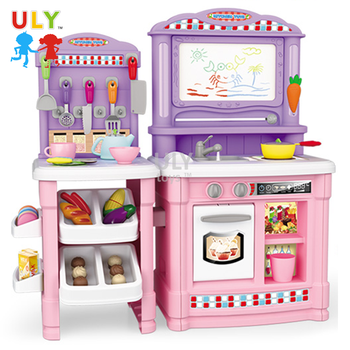 Top Selling Popular Girl Kids Plastic Play Set Kitchen ToyS With Magnetic Drawing Board