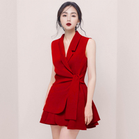 MZ18364 High Quality Casual Sleeveless Ladies Office Wear Dresses Dress Formal Suit Skirt Set Women