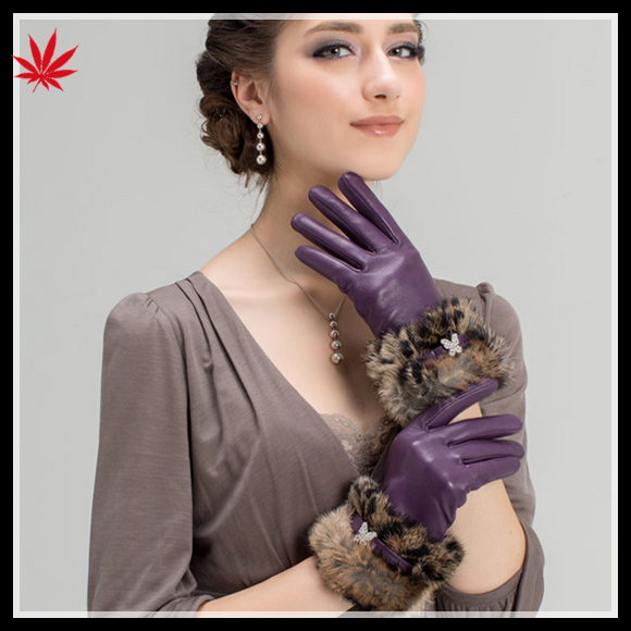 ladies cheap winter sheepskin leather hand gloves fur ending