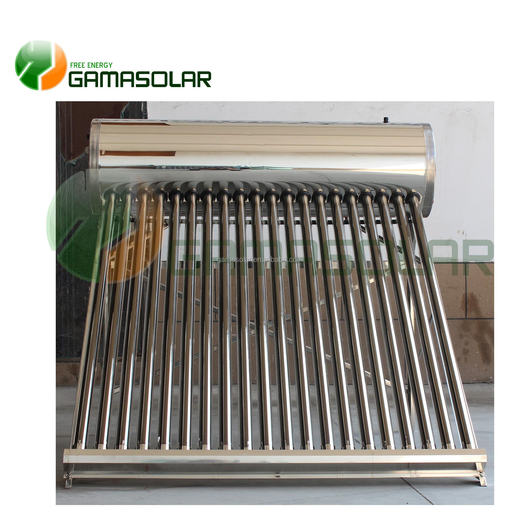 GAMASOLAR no de calentador de agua solar presurizado PRECIO DE 80L a 500L con controlador tk7 de acero inoxidable