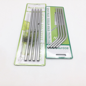 Christmas Gift Set Bar Accessories Food Grade 304 Stainless Steel Drinking Straight And Bend Straws With Cleaning Brush For Hot
