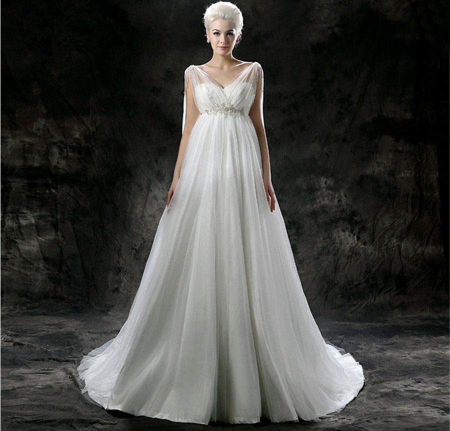 Simple Plus Size Wedding Dresses: Custom Made A Line V Neck Tulle Wedding Dress Sash Elegant