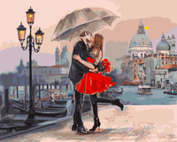 "GX9991- 40*50 Canvas Wall Art Oil Paintings "" Umbrella Kiss at Paris"" Canvas Prints Modern Landscape Picture Artworks"