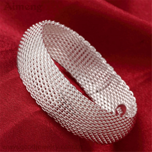 South Korean silver jewelry accessories with the fashion of the big closed-mouth bracelets