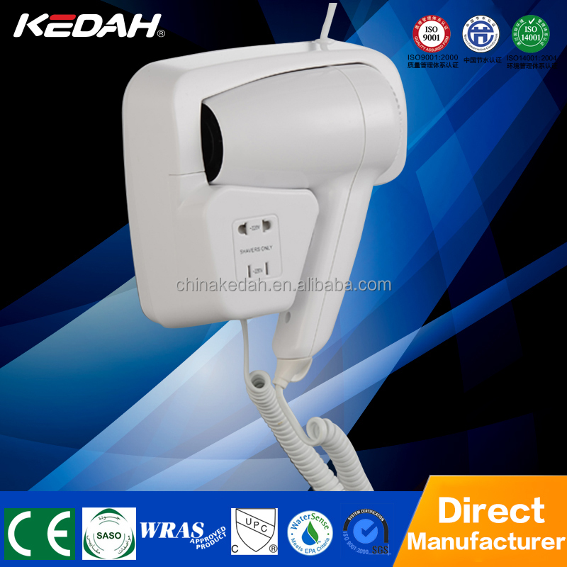 ABS plastic hotel bathroom wall mounted professional hair dryer with shaver socket KD-049A