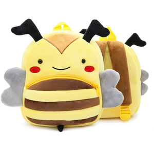 Custom Promotional Cartoon Animal Bee Shaped Plush Backpack Popular Wholesale Lovely Cute New Arrival Kids Backpack