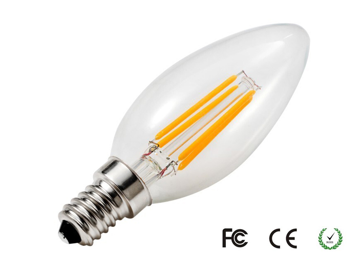 4w 6200k Led Filament E12 Clear Glass Dimmable Lamp Chandelier ...