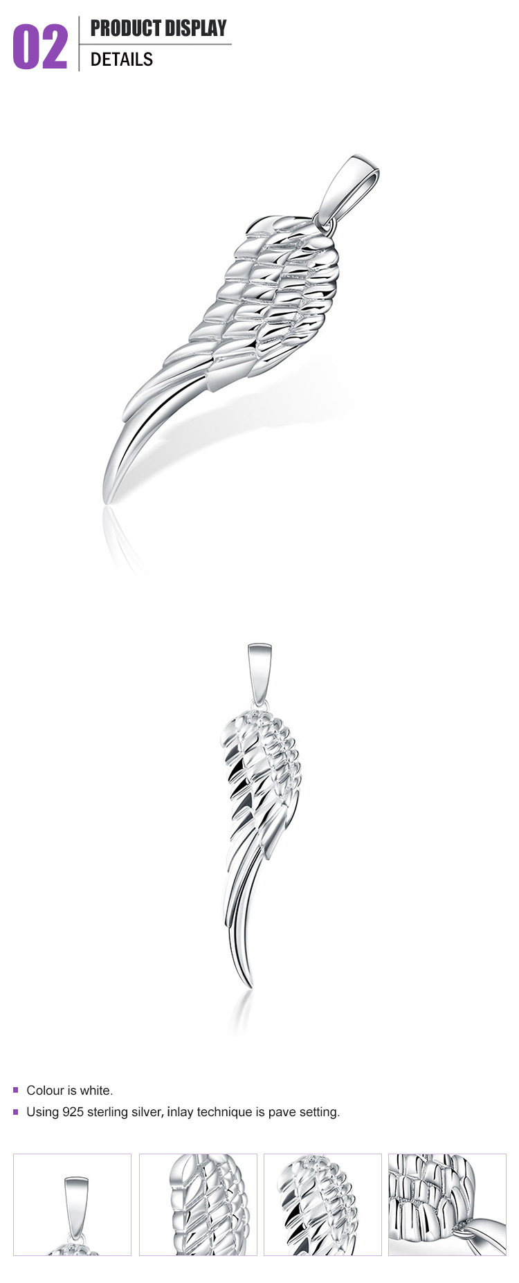 Top quality wing shape silver pendant for wedding