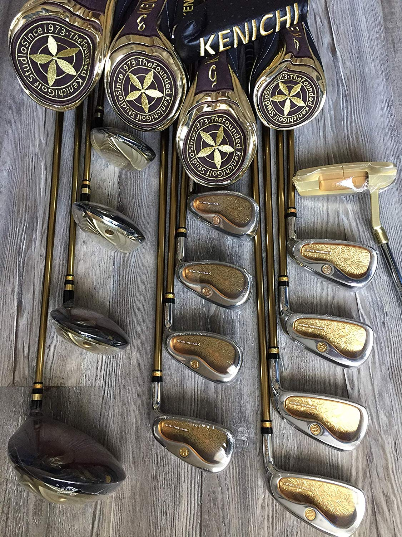 Kenichi Golf Studio Japan Complete Golf Club Gold Set Men, Driver, FW#3/#5, UT#4, Iron #5-9, PAS, Putter 13 Clubs Shaft Graphite Flex Regular