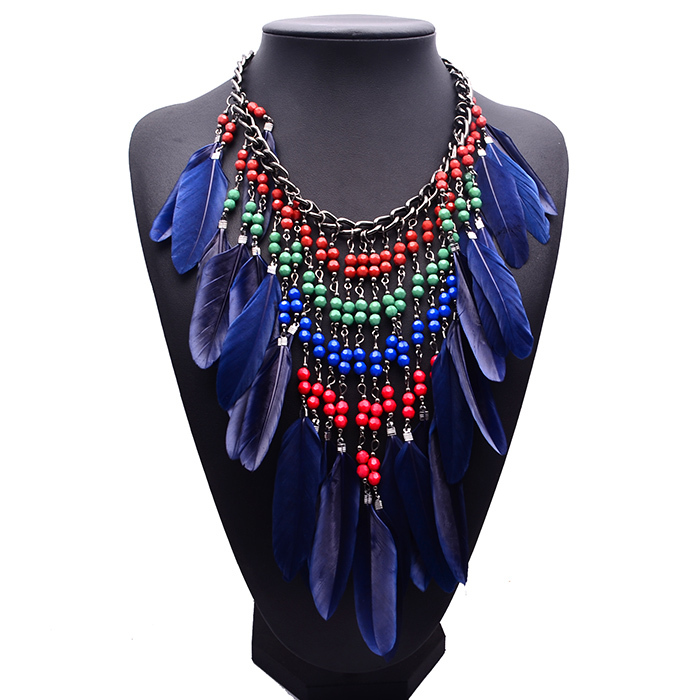 2016 Latest Design Ethnic Style Beads Tassel Necklace Feather ...