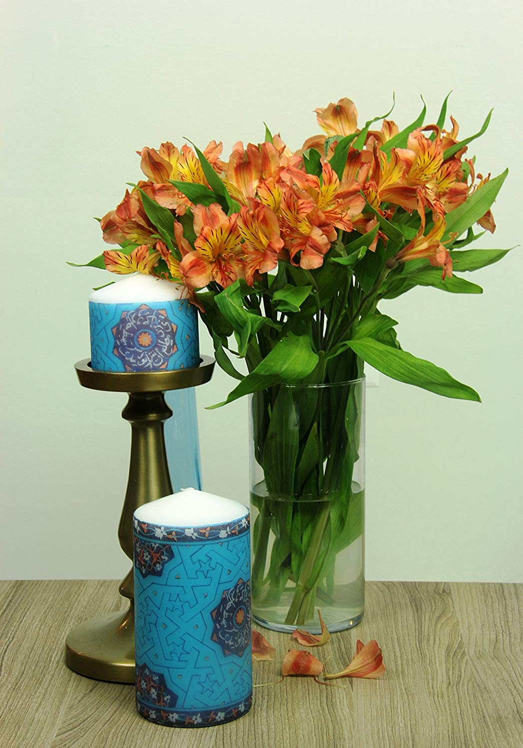 """Pillar Candles, hand decoupage-decorated with Traditional Geometric/Eslimi Patterns - Thickness: 2.25"""" to 3"""" - Height: 3"""" 4"""" 5"""" 6"""" & 7"""" tall"""