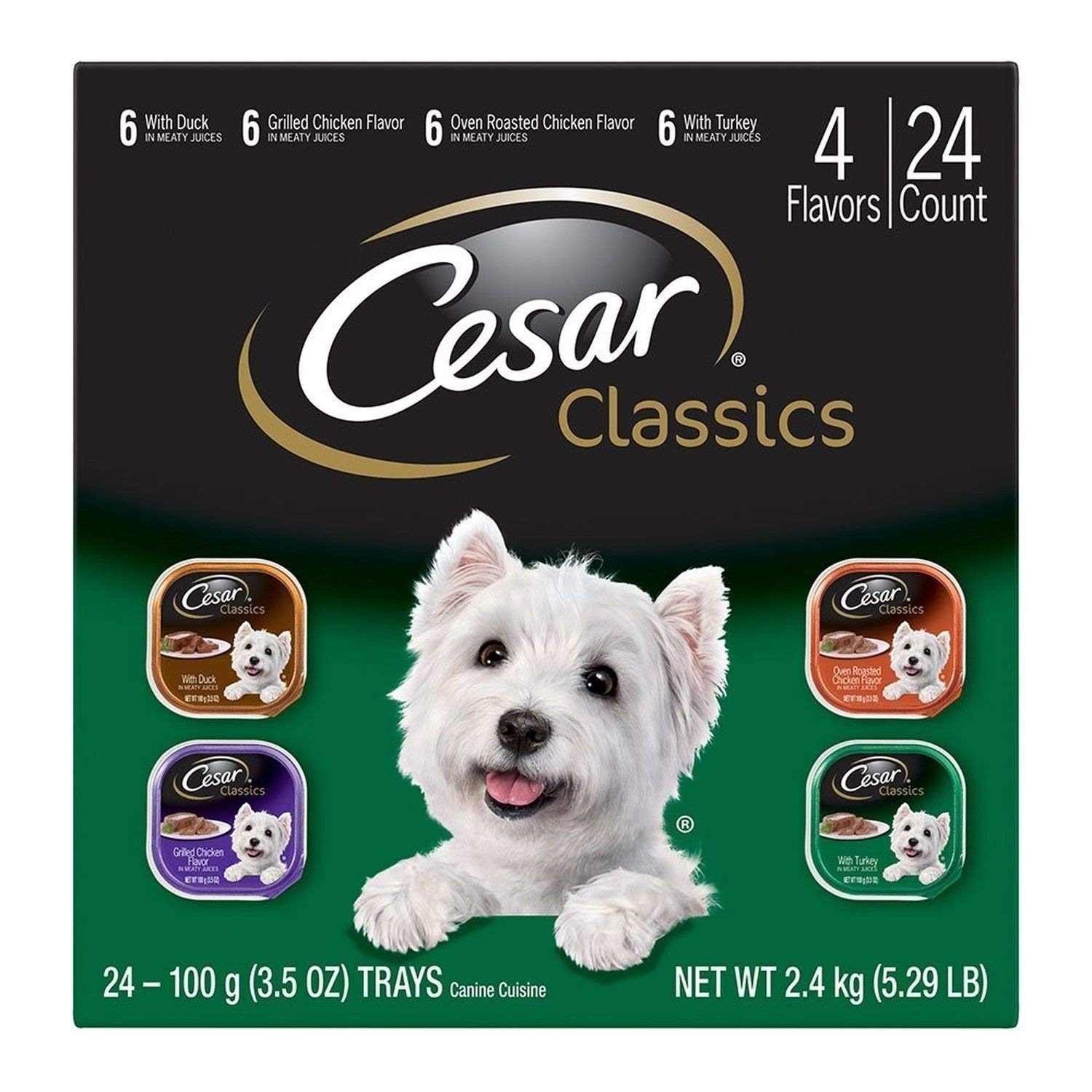 CESAR Classics Adult Wet Dog Food Variety Pack - Poultry 3.5 oz. (Pack of 24) (1)