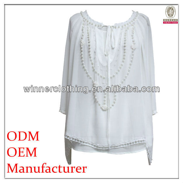 lady's hottest designed white loose fit plus size tunic with beadings