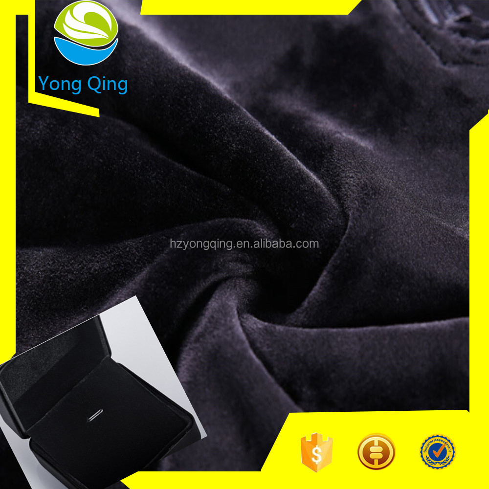 Factory directly sale warp knitting black polyester velvet fabric for box