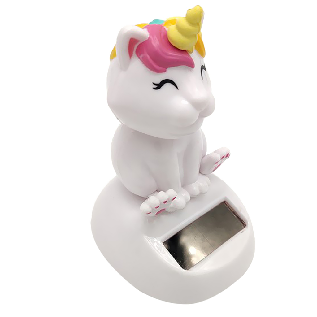 Solar Powered Cute Cat Unicorn Nodding Head Figure Doll Kids Toy Gift Home Office Car Dashboard Decoration Ornament