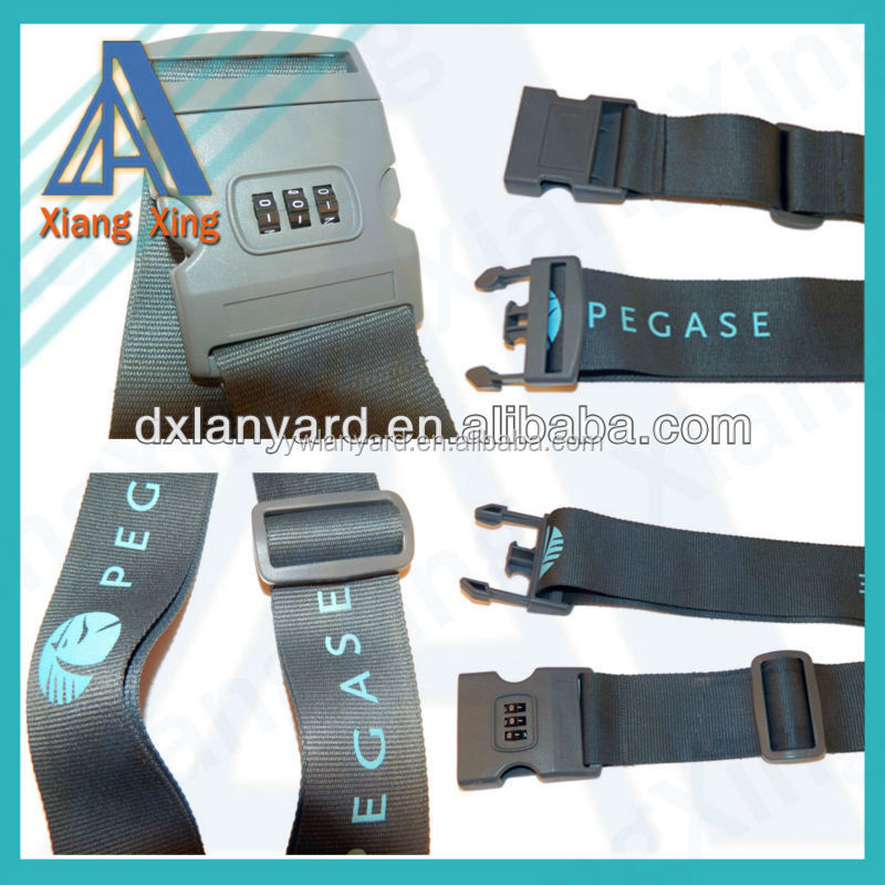 Custom logo plastic coded lock luggage strap with adjustable buckle