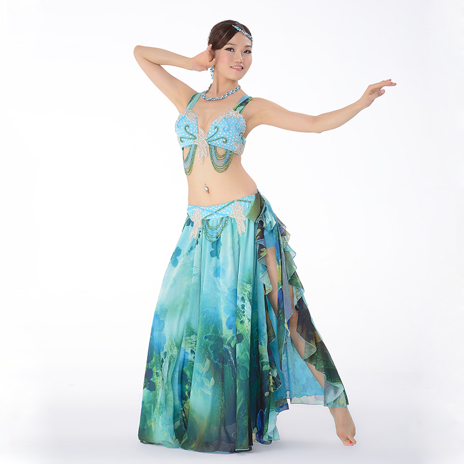 c2c299b38062 Get Quotations · Top Grade Performance Egyptian Belly Dance Clothes 2pcs  Outfit Plus Size Bra C/D Cup