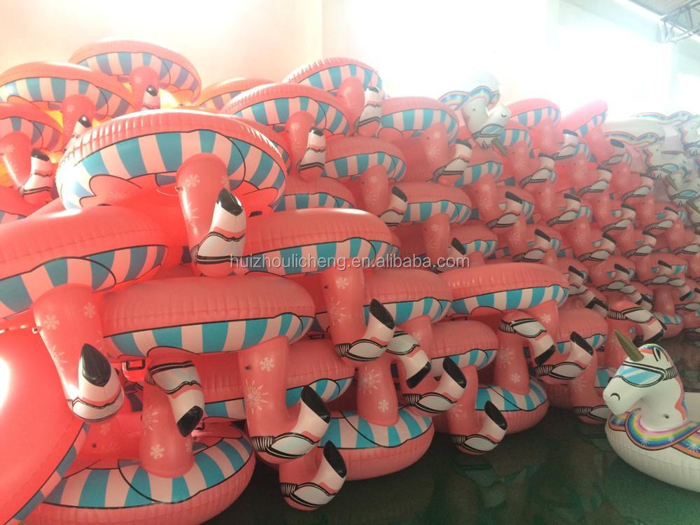 LC Frete grátis durável ar neve trenó adulto neve trenó de esqui CE barato amigável tubo de neve de plástico Flamingo inflável inverno brinquedos
