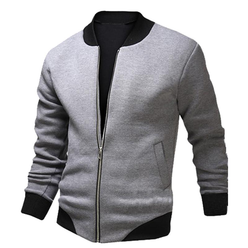 New Gray Bomber Jacket Men 2016 Fashion Design Mens Slim