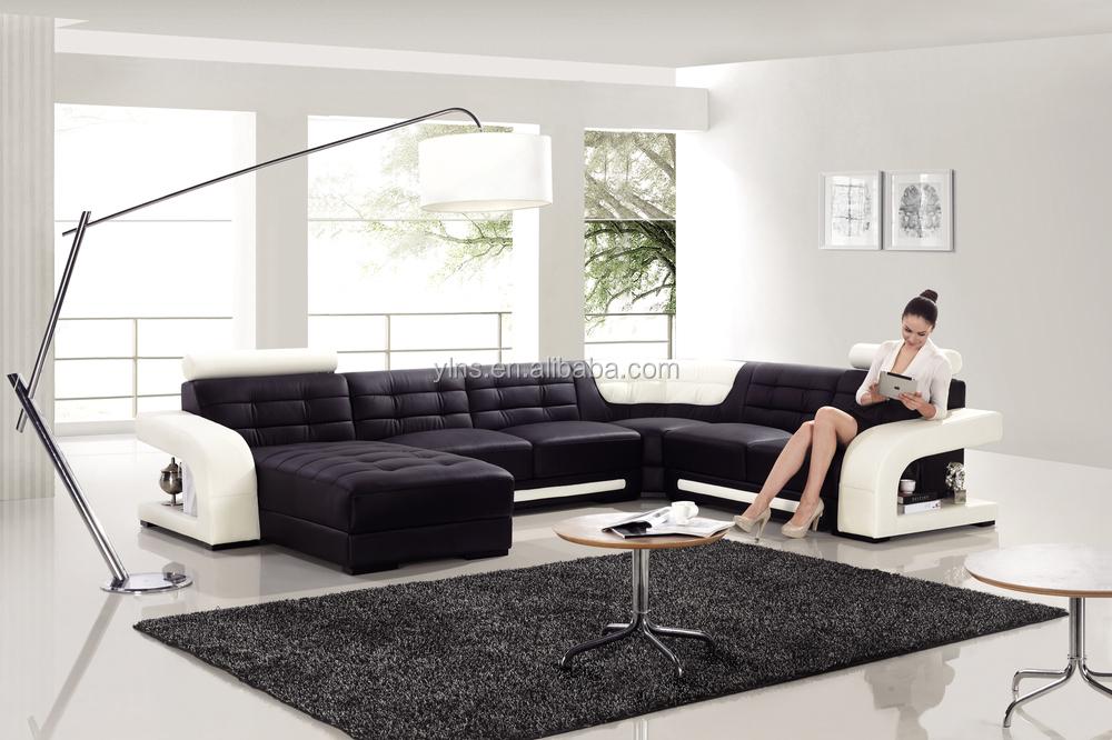Big Size White And Black Modern Leather Corner Sofa - Buy Leather Corner  Sofa,Corner Sofa Furniture,Big Size Corner Sofa Furniture Product on ...